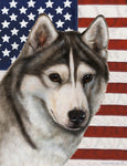 "Siberian Husky Red- Best of Breed Patriotic II Garden Flag 12"" x 17"""