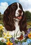 "Springer Spaniel L/W- Best of Breed Summer Flowers Garden Flag 12"" x 17"""