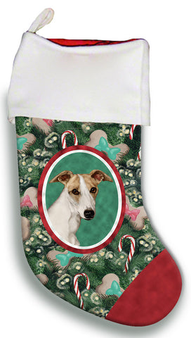 Whippet Fawn/White- Best of Breed Christmas Stocking