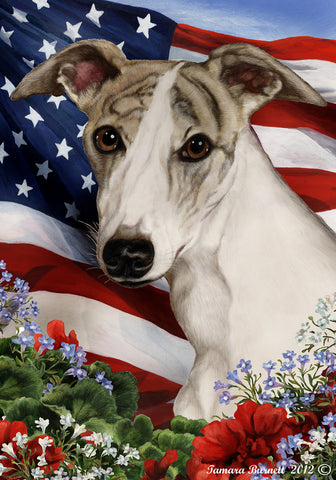 "Whippet Fawn Brindle- Best of Breed Patriotic I Garden Flag 12"" x 17"""