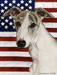 "Whippet Fawn Brindle- Best of Breed Patriotic II Garden Flag 12"" x 17"""