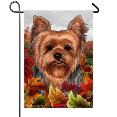 "Yorkie Puppy Cut- Best of Breed Fall Leaves Garden Flag 12"" x 17"""