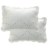 Brandream Cream White Vintage Embroidered Pillow Shams Standard Size Quilted Pillow Shams Set of 2 Ultra Soft