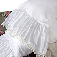 Queen's House White Pillowcases Vintage Farmhouse Crochet Pillow Cover Queen Shams Set of 2-Style F