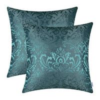 CaliTime Pack of 2 Throw Pillow Covers Cases for Couch Sofa Home Decoration Vintage Damask Floral Shining & Dull Contrast 18 X 18 Inches Silver Gray