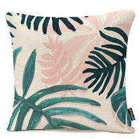 oFloral Throw Pillow Covers Vintage Palm Banana Leaves Pillowcases Cotton Linen 18 x 18 Inch Square with Hidden Zipper Home Sofa Cushion Decorative Pillowcase