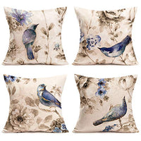 Xhomeli Queen Bee Throw Pillow Cover Modern Vintage Garden Bee with Flowers Lettering Pillow Case Cushion Cover Cotton Linen Farm Animal Pillowcase Outdoor Decor Sofa 18x18 Inch 4Pack(Queen Bee 4Pack)