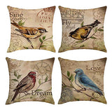 QIQIANY Set of 4 Vintage Bird Theme Decorative Outdoor Pillow Covers 18''x18'' Square Soft Cotton Linen,Home Decor Design Cushion Cover Pillowcases for Sofa Bedroom Chair(Beige)