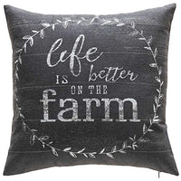 Rustic Vintage Farmhouse Cotton Decorative Throw Pillow Cover - Home Sweet Farmhouse (18x18, Navy Blue)