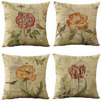 WOMHOPE Set of 4 Vintage Spring Flower Decorative Throw Pillow Covers Pillow Cases Cushion Cases Burlap Toss Throw Pillow Covers 18 x 18 Inch for Living Room,Couch and Bed (Beige Flower)