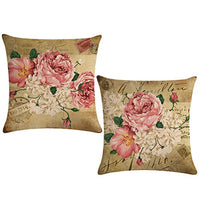 ULOVE LOVE YOURSELF 2pack Retro Flower Throw Pillow Covers Peony Rose Home Decorative Pillow Covers Vintage Cushion Cases Square Pillowcase 18 inch(Pink&White Flowers)