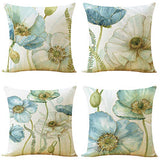 WOMHOPE Set of 4 Vintage Romantic Flowers Throw Pillow Covers Pillow Cases Cushion Cases Burlap Toss 18 x 18 Inch for Living Room,Couch and Bed (Vase (Set of 4 pcs))