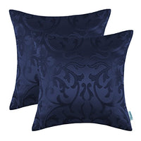 CaliTime Pack of 2 Throw Pillow Covers Cases for Couch Sofa Home Decoration Vintage Floral Two Tone Contrast Both Sides 20 X 20 Inches Navy Blue