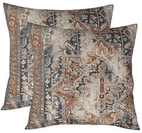 "EURASIA DECOR DecorHouzz Antique Pillow case Old Persian Rug Vintage Patchwork Inspired Print Pillowcase for Sofa Couch Living Room Bedroom Rustic Cotton Linen Decorative Home (Spice, 16""x26"")"