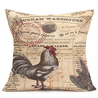 Asminifor Throw Pillow Covers Retro Vintage Farmhouse Art Rooster with Lettering Decorative Cotton Linen Cushion Cover Pillow Cases for Home Sofa Decor 18 x 18 inches (Retro-Rooster)