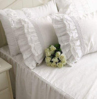 "One Piece Shabby Vintage White Embroidery Lace Ruffle Matching Pillowcase 1122 (Standard 20""x30"")"