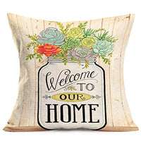 Fukeen Succulent Floral Plants Decorative Pillow Covers with Welcome to Our Home Sweet Quotes Decor Cotton Linen Throw Pillow Cases Vintage Wood Grain Background 18x18 Inches Cushion Cover