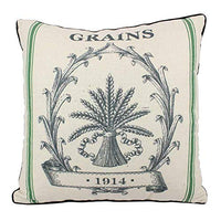 JuniperLab Vintage Farmhouse Grain Sack Cushion Covers French Strips Label Style Primitive Throw Pillow Cases 16'' Rustic Grains (Green)