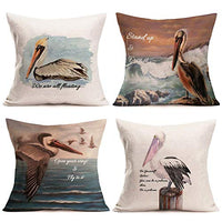 "Fukeen New Ocean Life Theme Trow Pillow Cover Marine Animal Sea Horse Turtle Fish Decorative Pillow Cases Vintage Mediterranean Style Home Sofa Decor Cotton Linen Cushion Shams 18""x18"", 4 Pack"