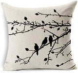 Jahosin Set of 2 Throw Pillow Cases Shell Vintage Birds Branches, Black Decorative Cushion Cover 18 X 18 Inches (Black Branches)