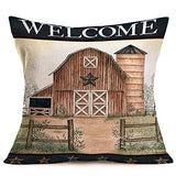 Hopyeer Farmhouse Throw Pillow Covers Vintage Wood Camper Pattern Cotton Linen Cushion Cover Forest Camping Pillow Cover Cases 18x18 Inches Travel Gift Decor Couch Car Bed (Forest Camper)