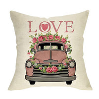 Softxpp Love Decorative Throw Pillow Cover, Happy Valentine's Day Pink Truck Cushion Case Flower Garlands, Vintage Home Spring Decoration Holiday Pillowcase Hearts Decor for Sofa Couch 18'' x 18''
