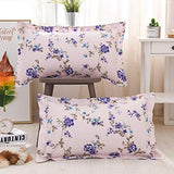 TEALP Floral Pillow Cases Vintage Bedding Pillow Shams Decorative Standard Size Purple and Pink Violet Flower with Leaves Printed Pillow Covers Set of 2 100% Cotton Premium Hypoallergenic Breathable