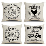 "KACOPOL Vintage Rustic Wood Background Happy Camper Pillow Covers Inspirational Quotes Home Outdoor Decorative Cotton Linen Throw Pillow Case Cushion Cover 18"" x 18"" Set of 4 (Happy Camper)"