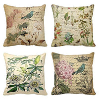 Emvency Set of 4 Throw Pillow Covers Paris French Botanical Floral Victorian Bird Rose Gardens Green Flower Decorative Pillow Cases Home Decor Square 16x16 Inches Pillowcases