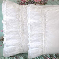 Queen's House Ruffled Pillow Shams Standard White Shabby Set of 2 Farmhouse Pillowcases French Country Vintage Frilly Pillow Cover Polyester 20x26