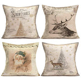 Asamour Vintage Bird and Tree Leaves Decorative Cotton Linen Throw Waist Pillow Case Cushion Cover Grey Golden Pillowcase 18x18 Inches Set of 4