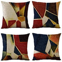 WOMHOPE Set of 4 Modern Vintage Geometric Decorative Throw Pillow Covers Pillow Cases Cushion Cases 18 x 18 Inch for Living Room, Couch and Bed (Red)