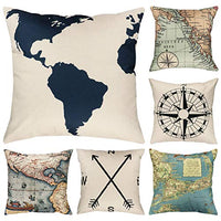 Faylapa 6 Pack Geography Theme Pillow Cases,Map Art Decorative Cushion Cover Pillowcase Home Decoration Sofa 18×18 Inches (45×45cm)(Case ONLY)