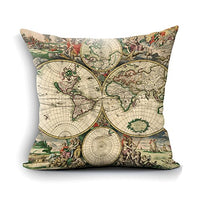 oFloral World Map Throw Pillow Case Vintage Pillow Square Cushion Cover for Home Bedroom Sofa Couch Chair Car Living Room Decorative 18 X 18 Inch