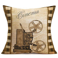 ShareJ Movie Theater Throw Pillow Covers Vintage Cinema Design Cushion Cover with Old Fashioned Icons Home Cotton Linen Decorative Pillowcases 18 X 18 Inch (Movie12)