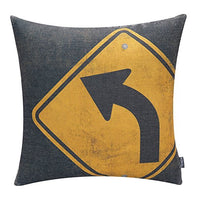 "TRENDIN 18"" X 18"" Vintage Traffic Signal Stop Sign Cotton Linen Throw Pillow Case Cushion Cover Car Club Decorative(PL006TR)"