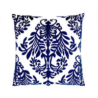 LiiZee Cotton Embroidery Throw Pillow Covers Square Cushion Cover Vintage Floral Decorative Pillow Cases for Sofa Couch Bed Living Room, 18 x 18 Inch Blue