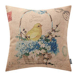 TRENDIN Easter Day Cute Chick Blue Flower Vintage Home Decor Throw Pillow Case Cushion Cover 18 x 18 Inch Cotton Linen PL426TR