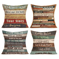 Aremetop Vintage Valentine Wood Pillow Covers Sweet Heart Home Decor Pillowcases Cotton Linen Warm Love Quote Decorative Throw Pillow Case Cushion Cover 18''x18'' for Sofa Valentine's Day,Set of 4