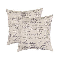 WHY Decor Soft Square Throw Pillow Covers Set Linen Lumbar Cushion Cases, Newspaper Vintage Retro Journalist Decorative Pillow Case for Sofa Bedroom Car Home Decor 18 x 18 Inch Pack of 2