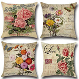 XIECCX Throw Pillow Covers Vintage Paris Trucks&Flowers Spring Decorative Pillowcases 4 Pack-Linen Cotton Cushion for Sofa,Farmhouse Countryside Outdoor Decor 18 x 18