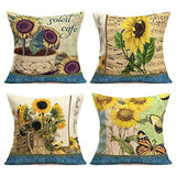 Throw Pillow Covers Vintage Sunflower Yellow Decorative Pillow Covers Cotton Linen Throw Pillow Cases Cushion Cover Home Sofa Couch Car Decor Square 18 x 18 Inches Set of 4 (Sunflower Set)