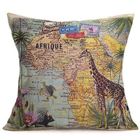 Fukeen World Map Throw Pillow Cases with Butterfly Flower Decorative Cushion Cover Vintage Cotton Linen 18x18 Inches Pillow Shams Standard, Home, Bed, Living Room Decor (Wonderstruck)
