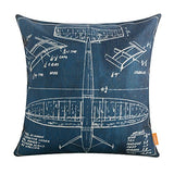 "LINKWELL 18""x18"" Shabby Chic Dark Red Plane Airplane Design Draft Drawings Burlap Cushion Covers Pillow Case (CC1149)"