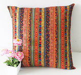 TAOSON Red Stripe Bohemian Style Antique Cotton Blend Linen Sofa Throw Pillowcase Cushion Cover Pillow Cover with Hidden Zipper Closure Only Cover No Insert 24x24 Inch 60x60cm