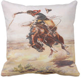 Emvency Throw Pillow Cover Vintage Wild West Cowboy On Bucking Horse Western Decorative Pillow Case Home Decor Square 18x18 Inch Cushion Pillowcase