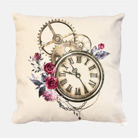 geinne 4pack Retro Pocket Watch Throw Pillow Case Vintage Theme Decorative Square Cotton Linen Cushion Cover for 18 X 18 Inch Pillow Inserts (Clock)
