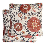 Mika Home Pack of 2 Jacquard Circle Floral Throw Pillow Shell Vintage Cushion Cover for 20X20 Inserts Cream Red