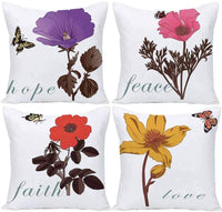 Flowers Throw Pillow Covers Floral Leaves Cushion Covers Vintage Pillowcases Printed Pillow Case 20x20 Inch Set of 4