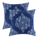 CaliTime Pack of 2 Cozy Throw Pillow Cases Covers for Couch Bed Sofa Manual Hand Painted Print Vintage Mandala Floral 18 X 18 Inches Navy Blue
